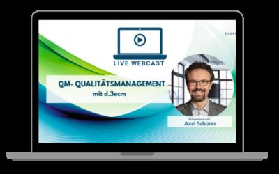 LIVE WEBCAST Qualtiätsmanagement – in d.3ecm