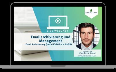 Live WebCast Emailarchivierung und Management: Email Archivierung (DSGVO und GoBD konform)